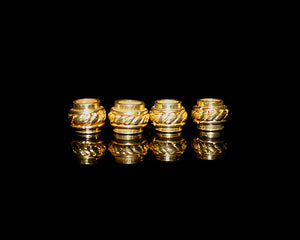 4 x 8mm Gold Vermeil Barrel Shaped Large Hole Beads