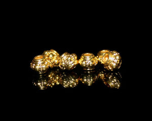 Six 22 Karat Gold Vermeil Spacer Beads