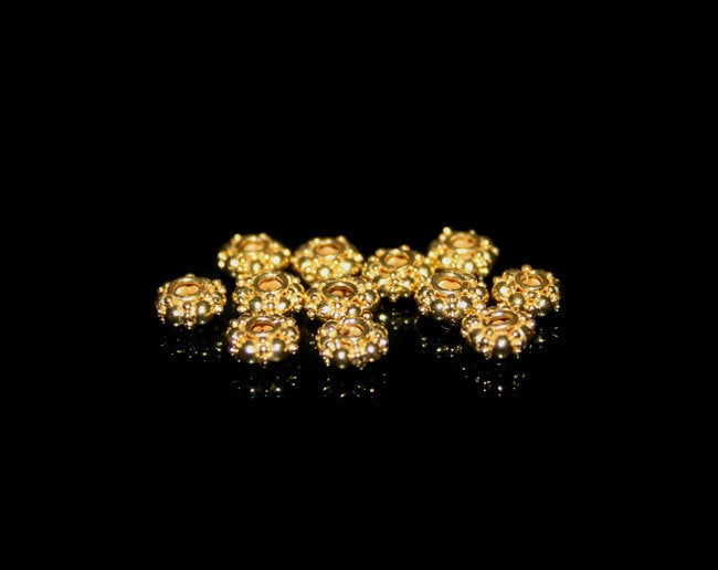 Lot of Twelve 5mm 22K Gold Vermeil Beads