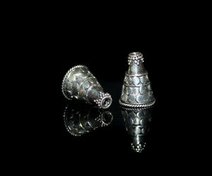 Two Sterling Silver Bali Cone Beads