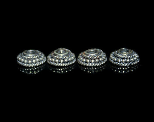 Four 10mm Sterling Silver Bali Bead Caps