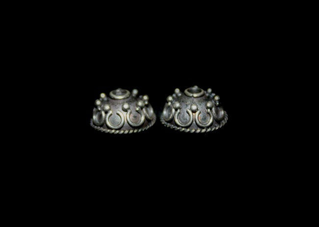 Four x 10mm Sterling Silver Bali Bead Caps