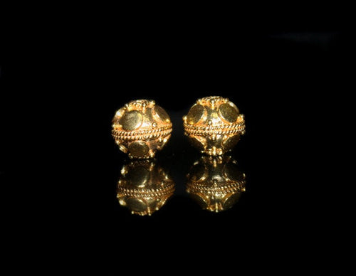 Two x 10mm Gold Vermeil Beads