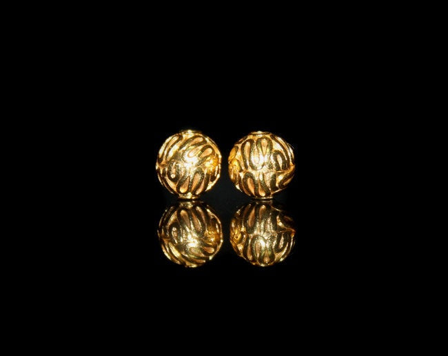 Two x 8mm Gold Vermeil Bali Beads