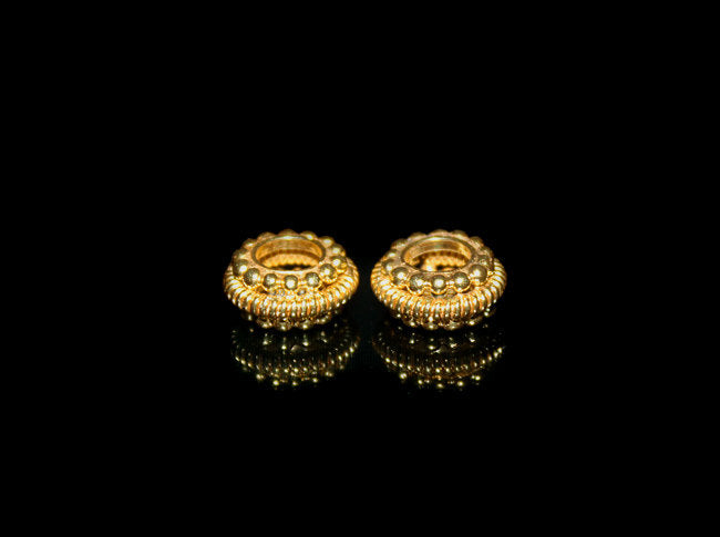 Two 10mm 22K Gold Vermeil Spacer Beads