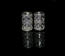 Load image into Gallery viewer, Two 17mm x 10mm Sterling Silver Bali Beads