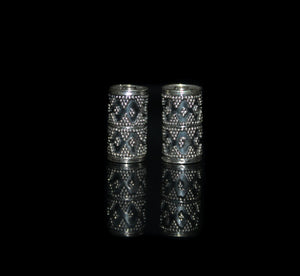 Two 16mm x 8mm Sterling Silver Bali Beads