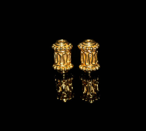 Two 11mm x 8mm Gold Vermeil Beads