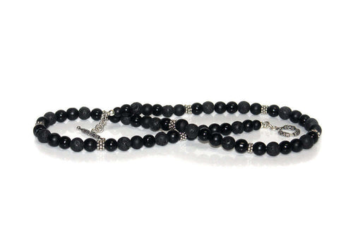 Black Onyx, Lava Stone and Sterling Silver