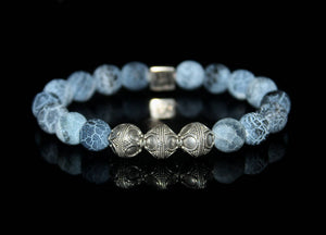 Blue Crackled Agate and Silver