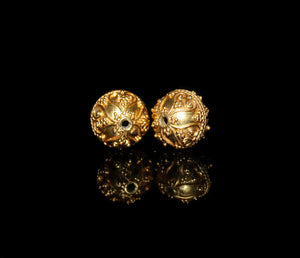 Two 10mm 22K Gold Vermeil  Beads