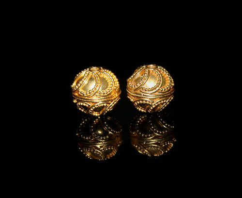 Two 12mm Gold Vermeil Granulation Beads