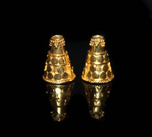 Load image into Gallery viewer, Two Gold Vermeil Bali Cone Bead Caps