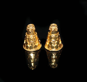 Two Gold Vermeil Bali Cone Bead Caps