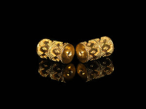 Two 19mm x 10mm Gold Vermeil Bali Beads