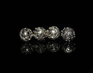 Four 8mm Sterling Silver Bali Beads