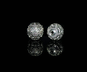 Two 13mm Sterling Silver Bali Granulation Beads