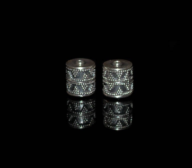 Two 10mm Sterling Silver Drum Beads