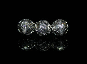 Three 10mm Sterling Silver Bali Beads