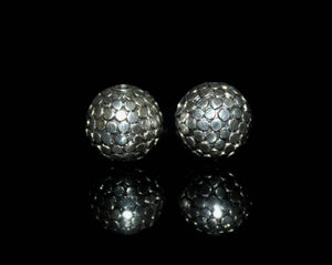 Two 13mm Sterling Silver Dots Beads
