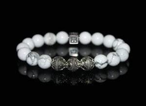 White Howlite Bracelet, Howlite and Sterling Silver Bracelet, Bead Bracelets Men, Black Beads bracelet, Bracelets for Men, Bracelet