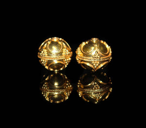 Two 15mm Gold Vermeil Bali Beads