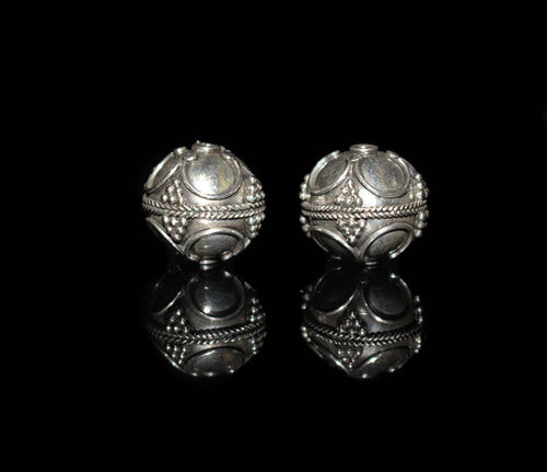 Two 15mm Sterling Silver Bali Beads