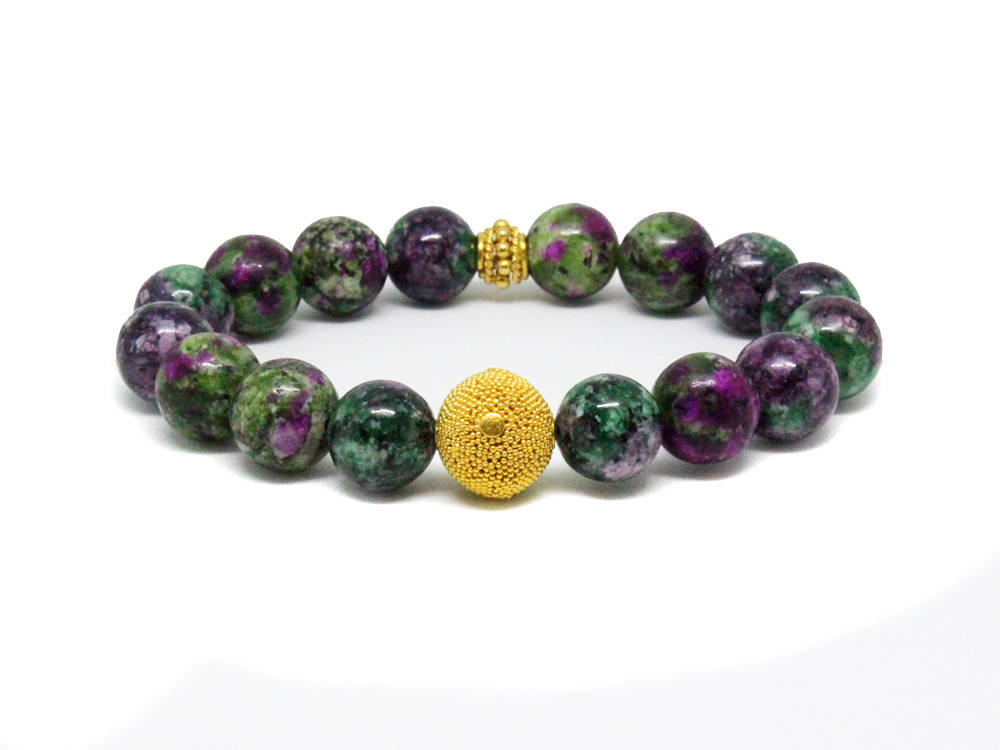 Beaded Bracelet for Woman, Gift for Her, Ruby Zoisite and Gold Vermeil Bracelet, Woman Bracelet, Bracelets for Women, Woman Bracelet