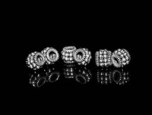 Six x 8mm 925 Sterling Silver Barrel Beads