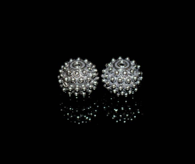 Two 10mm x 12mm Sterling Silver Bali Beads
