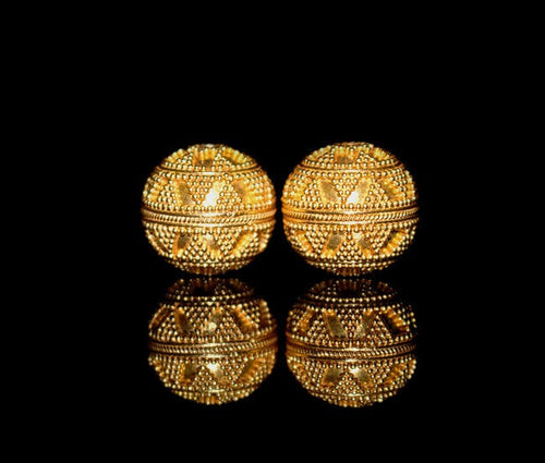 Two x 16mm 22K Gold Vermeil Beads