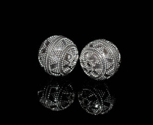 Two x 16mm Sterling Silver Bali Beads