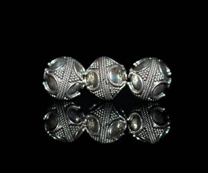 Three (3) x 12mm Sterling Silver Beads