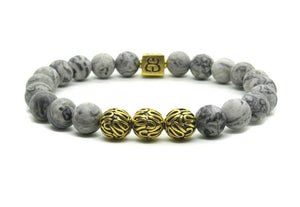 Matte Grey Jasper and Gold