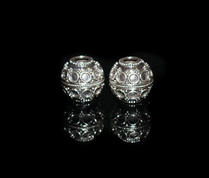 Two 12mm Sterling Silver Granulation Beads