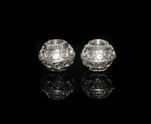 Two 15mm 925 Sterling Silver Beads