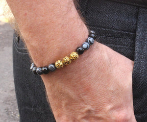 Black Striped Onyx and Gold Vermeil