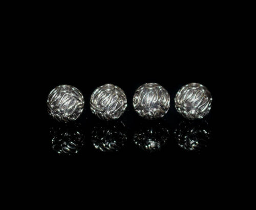 Four 10mm Sterling Silver Wire Work Beads