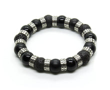 Load image into Gallery viewer, Onyx, Lava, and Sterling Silver