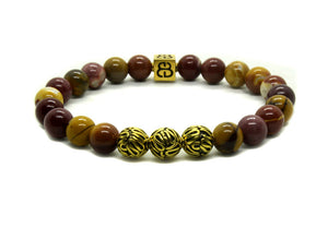 Mookaite and Gold Beads Bracelet, Men's Gold Bracelet, Designer Bracelet, Unisex Bracelet, Bali Beads Bracelet, Bead Bracelet Men