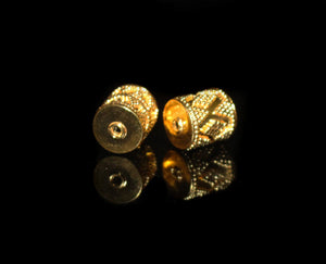 Two 11mm x 10mm 22K Gold Vermeil Beads