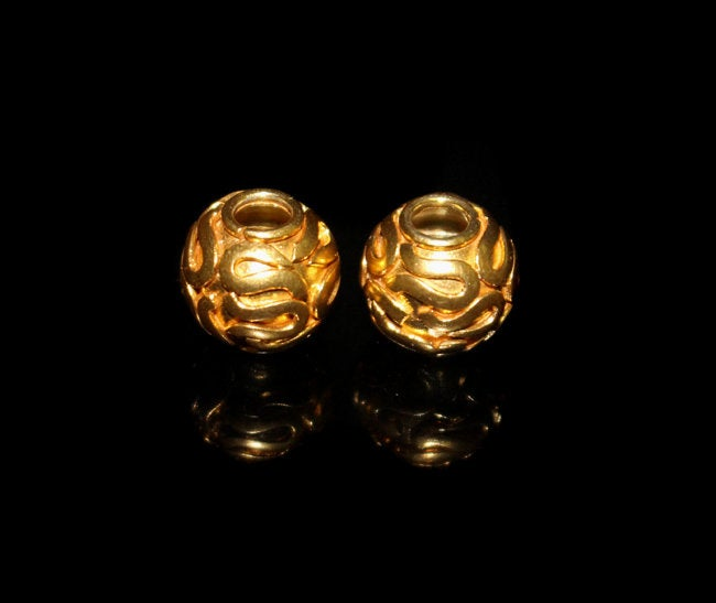 Two 12mm 22K Gold Vermeil Beads