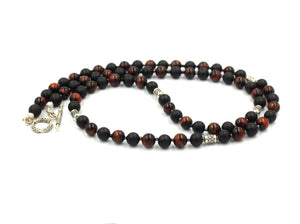 Red Tiger's Eye, Matte Black Onyx, and Sterling Silver