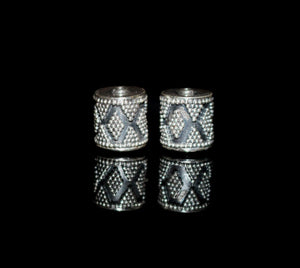 Two 11mm x 10mm Sterling Silver Drum Beads