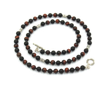 Load image into Gallery viewer, Red Tiger's Eye, Matte Black Onyx, and Sterling Silver