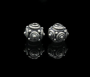 Two 10mm Sterling Silver Bali Beads