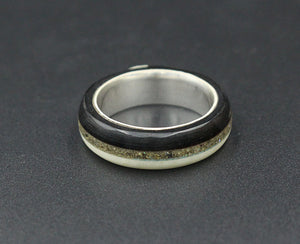 Sterling Silver Triple Inlay Ring
