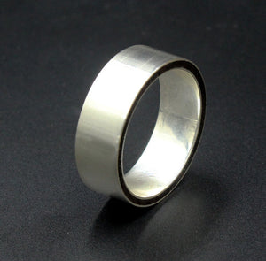 Brushed Sterling Silver and Ebony Wood