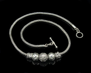 Sterling Silver Chain and Bali Beads Necklace, Woman's Silver Chain Necklace, Bali Beads Necklace, Sterling Silver Necklace