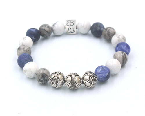Sodalite, Howlite, and Grey Jasper